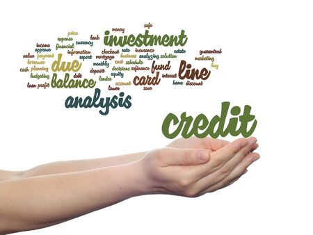 Concept or conceptual credit card line investment balance word cloud in hands isolated on background
