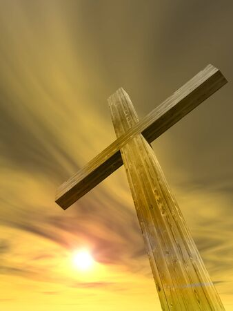 easter cross: Concept or conceptual wood cross or religion symbol shape over a sunset sky with clouds background Stock Photo