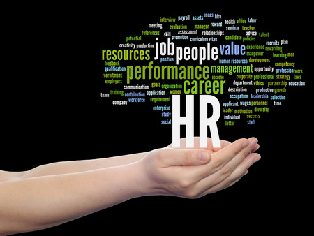 Concept conceptual hr or human resources management abstract word cloud in hand isolated Banco de Imagens