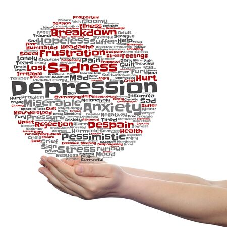 emotional stress: Concept or conceptual depression or mental emotional disorder word cloud held in hands isolated Stock Photo
