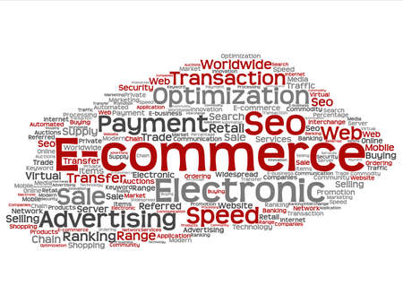 b2b: Concept or conceptual E-commerce electronic sale word cloud isolated on background