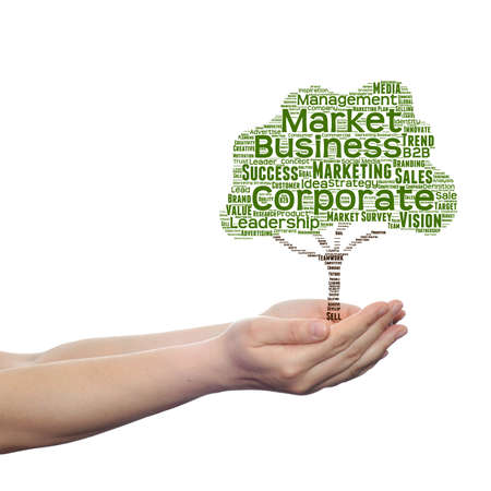 Conceptual media or business tree word cloud hand background Stock Photo