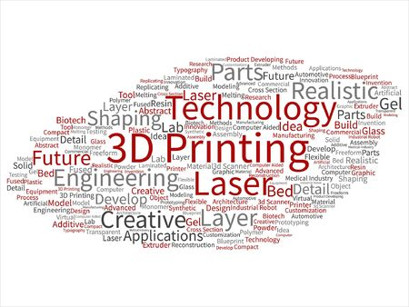 Vector concept or conceptual 3D printing creative laser technology abstract word cloud isolated on background