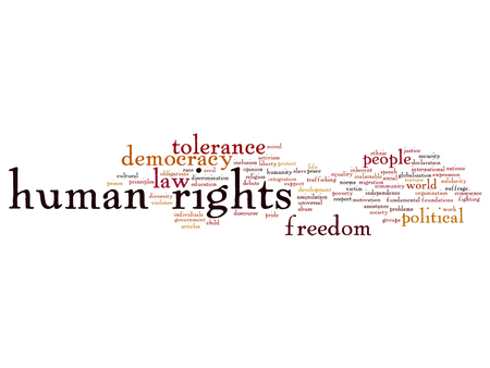 Conceptual human rights political freedom or democracy word cloud