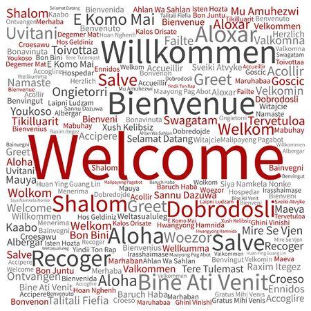 multilingual: Conceptual international greeting word cloud Illustration