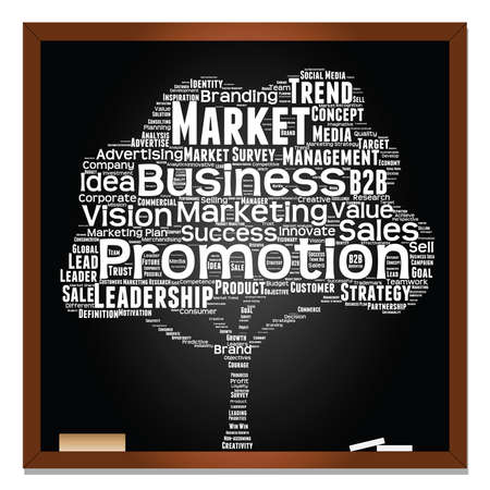 Conceptual white tree on blackboard leadership marketing or business word cloud Illustration