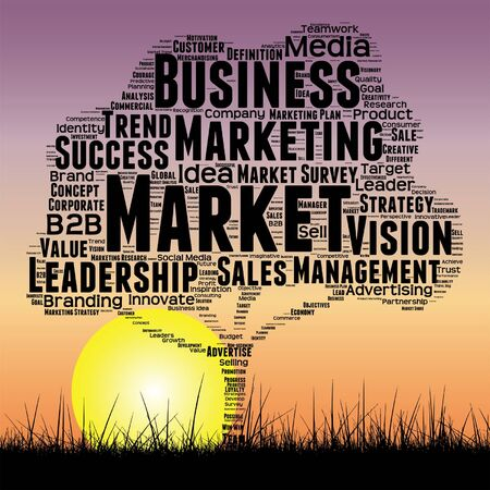 Conceptual media business tree at sunset  word cloud