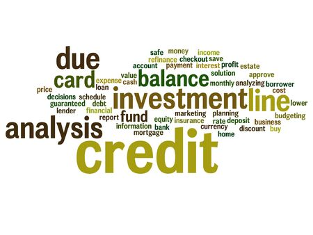 Conceptual credit card line investment balance word cloud Illustration