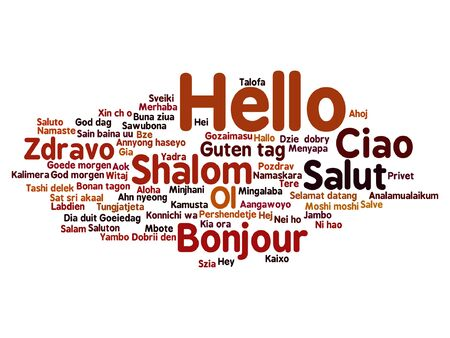 Vector concept or conceptual abstract hello or greeting international word cloud in different languages or multilingual, metaphor to world, foreign, worldwide, travel, translate, vacation or tourism Çizim