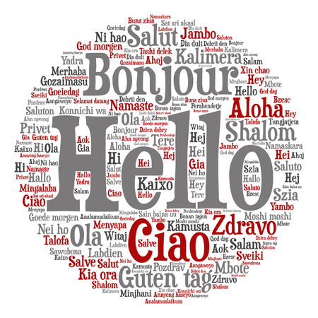 Conceptual word cloud about international greetings