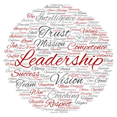 Vector concept of conceptuele zakelijke leiderschap, management waarde woord wolk geïsoleerd op achtergrond Stock Illustratie