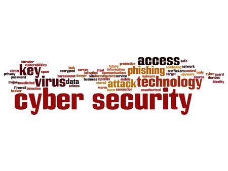 ベクトル概念または概念のサイバー セキュリティ アクセス技術の単語の雲の背景に分離 写真素材 - 84744003