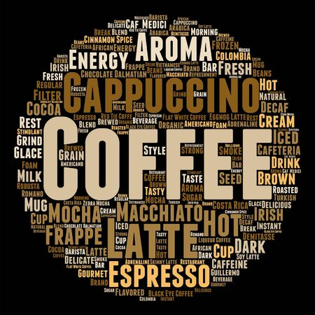 Vector concept conceptual creative hot coffee, cappuccino or espresso abstract word cloud isolated
