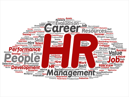 manpower: Vector concept conceptual hr or human resources word cloud isolated on background Illustration