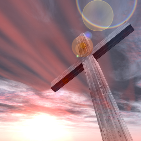 holy night: 3D illustration conceptual wood cross or religion symbol shape over a sunset sky with clouds background for God, Christ, Christianity, religious, faith, holy, spiritual, Jesus, belief or resurection