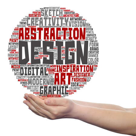 ilustration: Concept conceptual creativity art graphic design visual word cloud in hand isolated Stock Photo