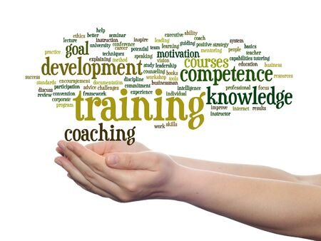 leadership potential: Concept or conceptual training, coaching or learning, study word cloud in hands isolated