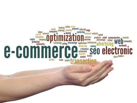 b2b: Concept or conceptual E-commerce electronic sale word cloud in hands isolated on background