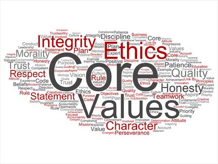 Core waarden woord wolk patroon. Stock Illustratie