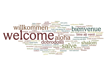 Welcome in different languages word cloud pattern.