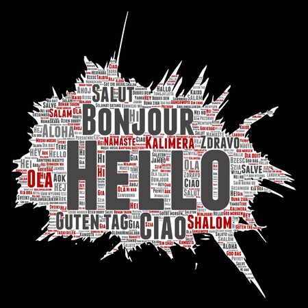 Hello in different languages word cloud pattern. Illustration