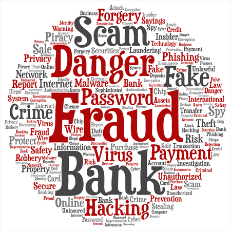 Bank scams word cloud pattern.