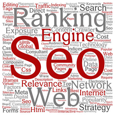 html: Vector concept or conceptual search engine optimization, seo abstract word cloud isolated