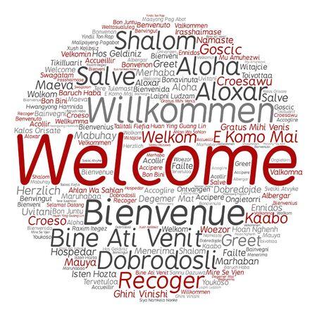 International greetings in different languages word cloud pattern. Çizim