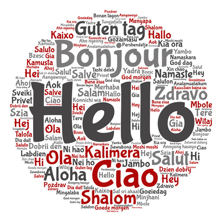 Hello in different languages word cloud pattern. Ilustrace