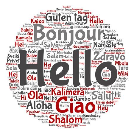 Hola en diferentes idiomas patrón de nube de palabras. Foto de archivo - 84895218