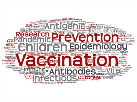 infectious: Vector concept or conceptual children vaccination viral prevention abstract word cloud isolated background. Collage of infectious antigenic, antibodies, epidemiology immunization or inoculation text