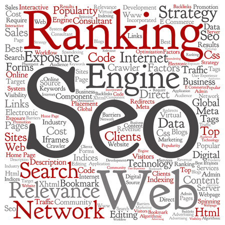 Concept or conceptual search engine optimization, seo square word cloud isolated on background metaphor to marketing, web, internet, strategy, online, rank, result,  network, top, relevance Stok Fotoğraf