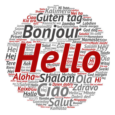 met: Conceptual abstract hello or greeting international word cloud in different languages