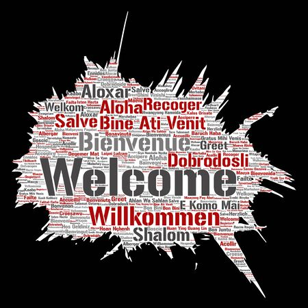 Conceptual abstract welcome or greeting international brush or paper word cloud in different languages or multilingual. Collage of world, foreign, worldwide travel, translate, vacation tourism Stock Photo