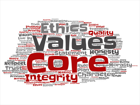 golden rule: Vector conceptual core values integrity ethics concept word cloud isolated on background
