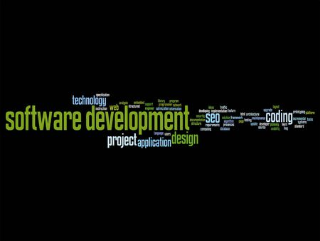 html: Vector concept or conceptual software development project coding technology word cloud isolated on background Illustration