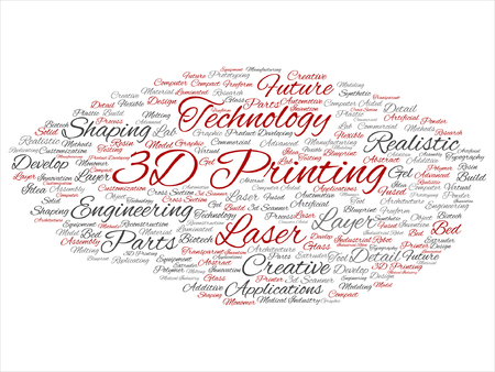 A Vector concept or conceptual 3D printing creative laser technology word cloud isolated on background