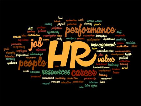 Concepto del vector hr o recursos humanos conceptual nube de palabras aisladas en el fondo