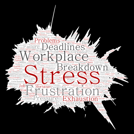 Conceptual mental stress at workplace or job pressure paint brush or paper word cloud isolated background. Collage of health, work, depression problem, exhaustion, breakdown, deadlines risk Imagens - 84998907