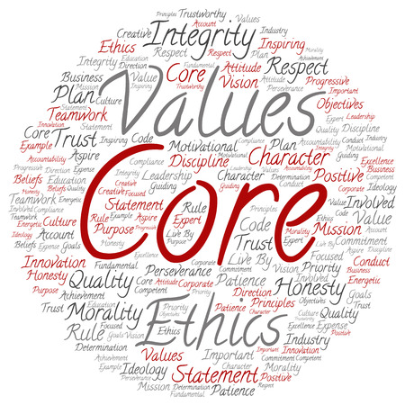 Conceptual core values integrity ethics round concept word cloud isolated on background metaphor to honesty, quality, trust, statement, character, important, perseverance, respect trustworthy