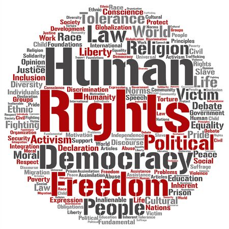 Concept or conceptual human rights political freedom or democracy word cloud isolated on background