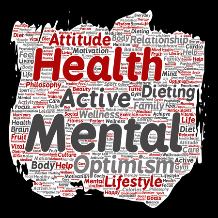 Conceptual mental health or positive thinking paint brush paper word cloud. Illustration