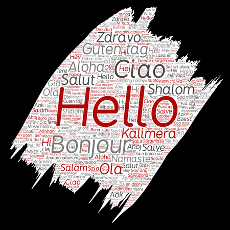 Concept or conceptual brush or paper hello or greeting international tourism word cloud in different languages or multilingual.