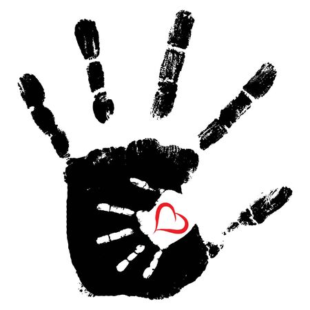 Concept or conceptual cute paint hand of mother child and heart shape.