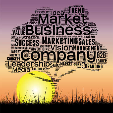 Conceptual media business tree at sunset  word cloud.