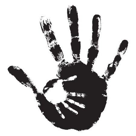 Concept or conceptual cute black paint hand of mother child.