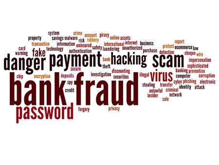 Vector concept or conceptual bank fraud payment scam danger word cloud isolated on background Illustration
