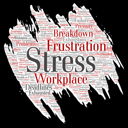 Conceptual mental stress at workplace or job pressure paint brush or paper word cloud.