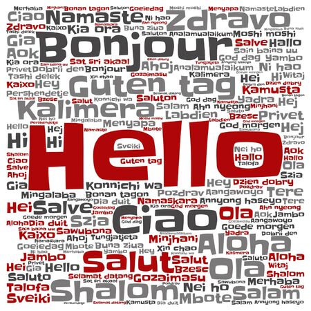 Conceptual abstract hello or greeting international word cloud. Çizim