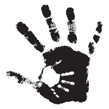 Concept of conceptuele schattige zwarte verf hand van moeder kind.